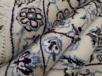 画像2: 新品 ペルシャ 絨毯 ナイン 9la ノーラー 縦2m 3.3㎡ 3帖 リビング ダイニング 2人掛け ソファ サイズ 235 x 158 cm 188 ウール 手織り ラグ ハンドメイド カーペット 敷物 クラシック スタイル 生成り 青