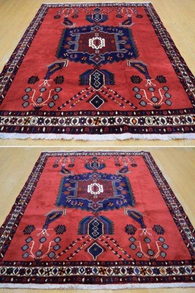 画像3: 美品 ペルシャ 絨毯 シールジャーン 縦2.1m 3.3㎡ 3帖 リビング ダイニング 2〜3人掛けソファ サイズ 210 x 158 cm E103 天然 ウール 手織り ハンドメイド トライバル ラグ 部族絨毯 マット カーペット 赤 民族柄 ギャッベ(ギャベ)をお探しの方にもお勧めです