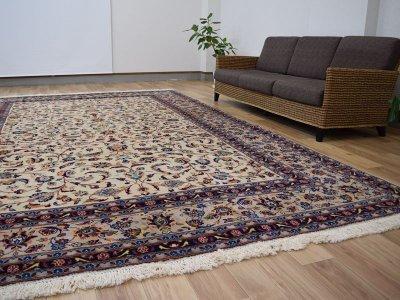 画像1: 美品 ペルシャ 絨毯 カシャーン 縦3.7m 横2.5m 9㎡ 6帖をややオーバー リビング ダイニング 3人掛けソファ コーナーソファ 大判 サイズ 368 x 245 cm No.352 天然 コルクウール 手織り トライバル ラグ 敷物 マット カーペット 総柄 ヴィンテージ ビンテージ 大きなお部屋に 中古品に抵抗のある方にもおすすめです。