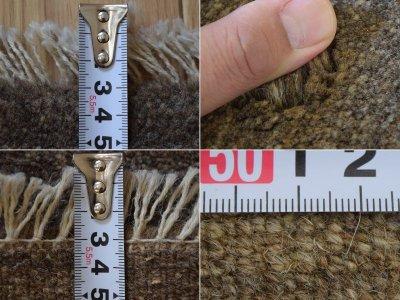 画像3: 新品 ペルシャ ギャッベ 縦1.2m アクセント ラグ サイズ 113 x 79 cm No.481 超肉厚 天然 草木染 ウール 手織り ハンドメイド ギャベ マット カーペット  シンプル プレーン グレー