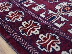 画像12: 新品 ペルシャ 絨毯 トルクメン 縦1.2m 横0.9m アクセント サイズ 114 x 82 cm No.35 天然 肉厚 ウール 手織り ハンドメイド トライバル ラグ マット カーペット 赤 エンジ  グリーン ギュル 幾何学模様 民族柄 n-35-11482s001 (12)