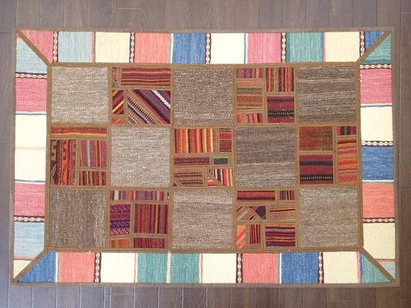 画像1: 新品 キリム ジャジム パッチワーク ラグ アクセント サイズ 122 × 81 cm No.5492 平織り 天然 ウール 絨毯 敷物 n-5492-122081sa08 (1)