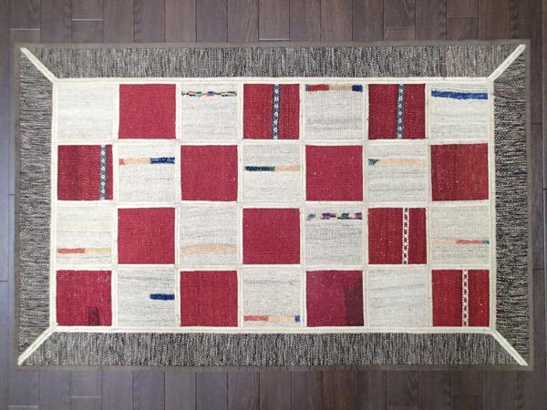 画像1: 新品 ギャッベ キリム ジャジム パッチワーク ラグ アクセント サイズ 124 × 79 No.5506 平織り 天然 ウール 絨毯 敷物 マット カーペット n-5506-124079sa08 (1)