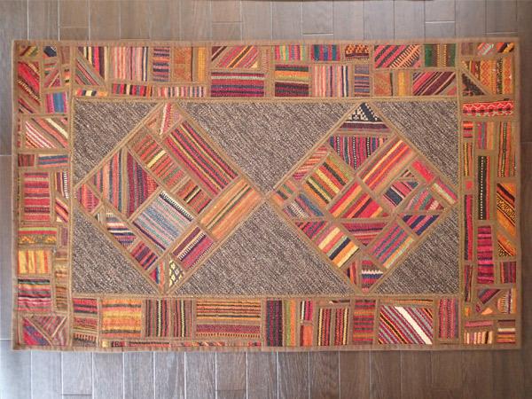 画像1: ペルシャ キリム ジャジム パッチワーク ラグ アクセント サイズ 125 × 76 1752  平織り 天然 ウール 絨毯 敷物 マット カーペット 茶 赤 n-1752-125076sa08 (1)