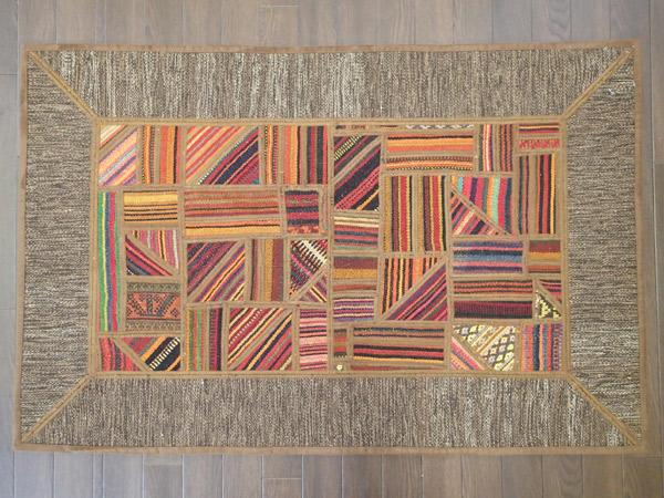 画像1: 新品 ペルシャ キリム ジャジム パッチワーク ラグ アクセント サイズ 120 × 79 No.1756  平織り 天然 ウール 絨毯 敷物 マット カーペット 茶 赤 n-1756-120079sa08 (1)