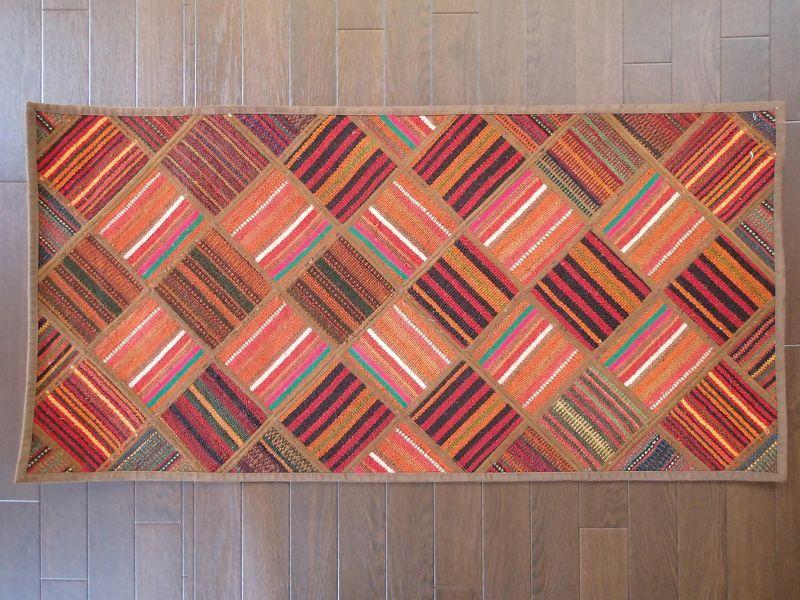 画像1: 新品 ペルシャ キリム パッチワーク ラグ アクセント サイズ 113 x 59 cm No.5489 平織り 天然 ウール 絨毯 敷物 マット カーペット 茶 赤 マルチ カラー n-5489-113059sa08 (1)