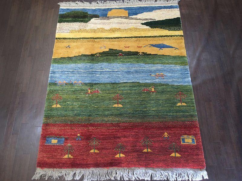 画像1: ペルシャ ギャッベ リビング サイズ  203 x 162 cm F169 ハンドメイド ギャベ 天然 ウール 手織り ラグ マット 絨毯 カーペット 赤 緑 青 黄 クリーム マルチカラー カラフル (1)