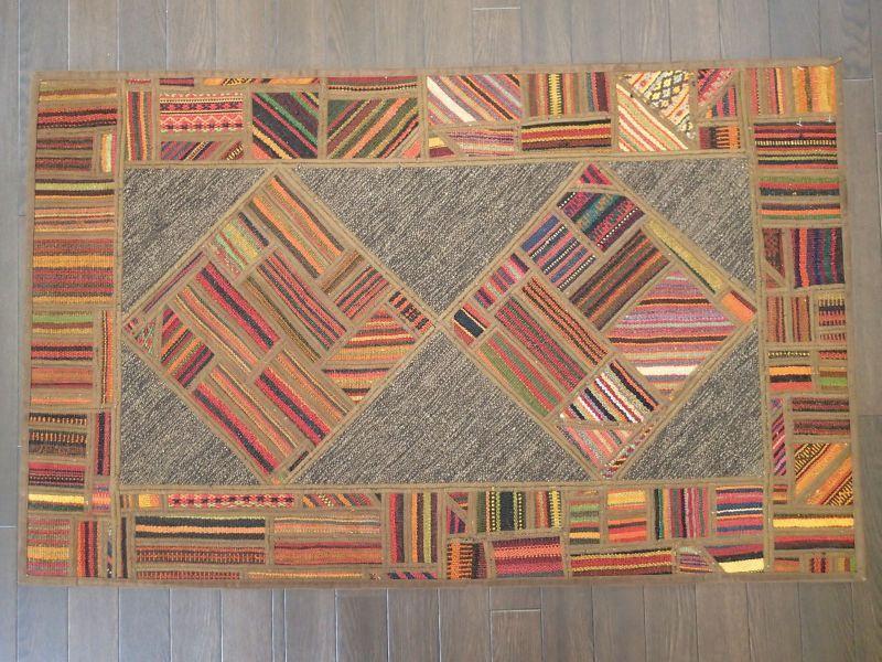 画像1: 新品 ペルシャ キリム ジャジム パッチワーク ラグ アクセント サイズ 124 x 78 cm No.1751  平織り 天然 ウール 絨毯 敷物 マット カーペット 茶 赤 マルチ カラー カラフル n-1751-124078sa08 (1)